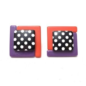 Vintage 80s 90s Acrylic Polka Dot Square Earrings